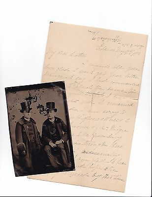 Vintage EPHEMERA Letter to brother with 1890s TINTYPE OF BROTHERS
