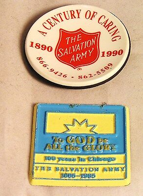 Salvation Army -  TWO REFRIGERATOR MAGNETS - 100 YEARS IN CHICAGO