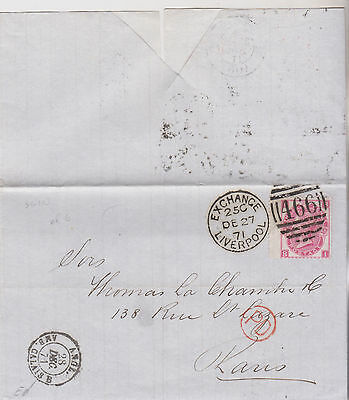 1871 QV LIVERPOOL WRAPPER WITH FINE 3d ROSE STAMP & WING MARGIN USED IN FRANCE