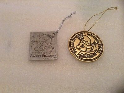 2 X Pocket Dragon Christmas Tree Decoration Medallion Ornament 1998 And 2003
