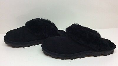 #8 Womens Inspired Winter Suede Leather Black Slippers Size 7