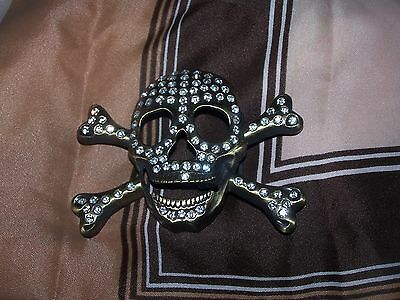 Belt Buckle Skull Diamonds Unisex  Great Condition  Cool Jeans Free Post Wow A1