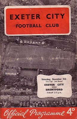 EXETER v BRENTFORD 1959/60 FA CUP 2ND ROUND