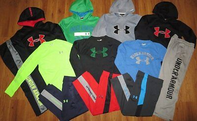 Lot 12 Boys UNDER ARMOUR Loose Big Logo Hoodie Waffle Shirt Athletic Pants YSM 8