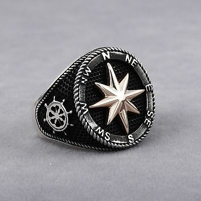 Sailor Men's Ring Compass Design Round 925 Solid Sterling Silver Turkish Jewelry