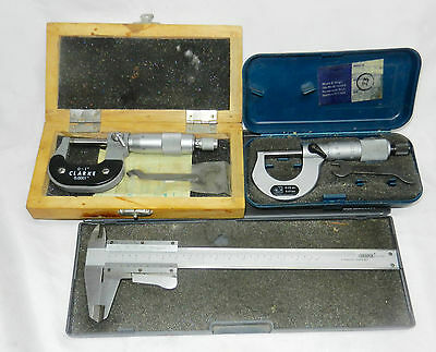 Two micrometers and a vernier caliper, metric and imperial - no reserve