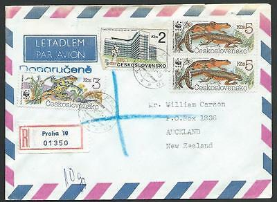CZECHOSLOVAKIA 1991 Registered cover to NZ, WWF Frong, Lizard franking.....11244