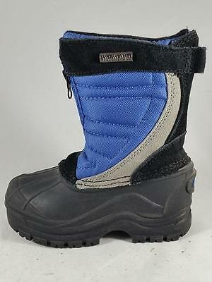Boy's Toddler NORTHSIDE Black/Blue Nylon/Leather Snow Winter Boots New