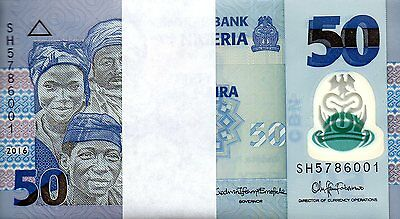 NIGERIA 50 naira 2016 UNC polymer - original bundle of 100 consecutive pieces