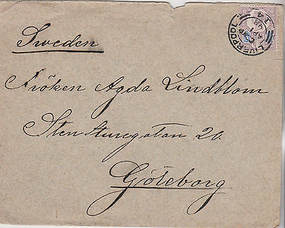 1898 QV LIVERPOOL COVER WITH SG207a 5d PURPLE & BLUE STAMP JUBILEE ISSUE SWEEDEN