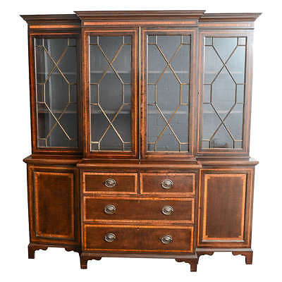 Antique Mahogany Breakfront Bookcase Made in England Satinwood Inlay