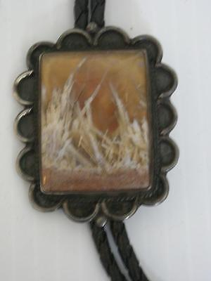 Hi Qlty Pawn Vintage Navajo Indian Petrified Wood Agate Sterling Silver Bolo Tie