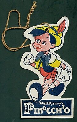 1930's W.D.P Walt Disney Productions PINOCCHIO Hat Tag