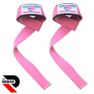 Ladies Pink Weight Lifting Gym Straps Wrist Support Wraps Hand bodybuilding new