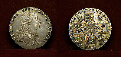 Great Britain - sixpence 1787 aUnc, George III,  silver