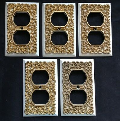 5 Outlet Covers Metal Hollywood Regency