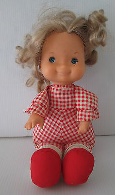 Vintage Hong Kong Fabric Soft Filled Body Doll Sitting Position