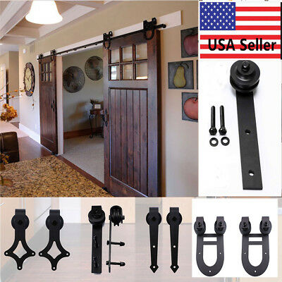 6.6FT Wood Sliding Barn Door Hardware Closet Kit/Rollers Cabinet Closet Hangers