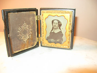Ambrotype of woman in thermoplastic case, ninth plate size