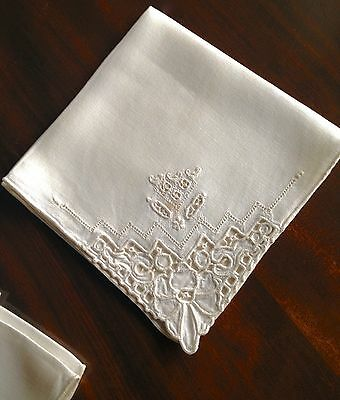 Antique Drawnwork And Embroidered Napkins As Is Set Of Six 16 Inch