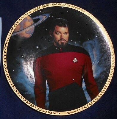 HAMILTON COLLECTOR PLATE Star Trek next generation Commander RIKER NEW COA 4454S