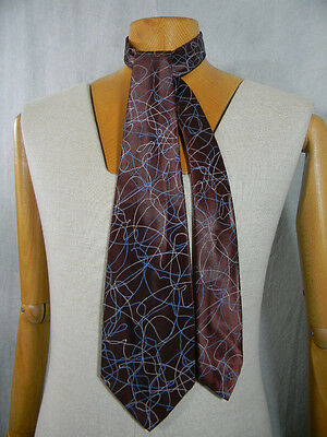 vintage 1940s Abstract Scribble Rayon Wide Beau Brummell neck Tie