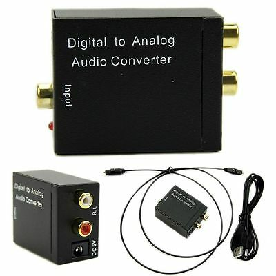 Optical Digital Coaxial Toslink Signal to Analog Audio Converter Adapter RCA GK
