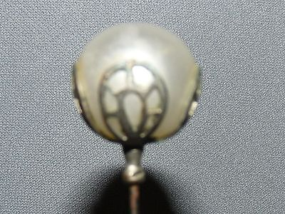 Antique Hatpin White Pearl Ball Top with Silver Mounting Filigree Design