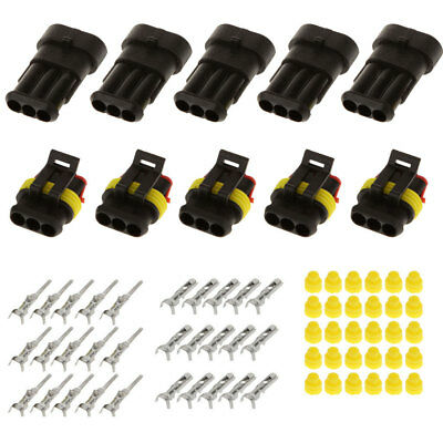 5 Kits 3 Pins Way Sealed Waterproof Electrical Wire Connector Plug Car Auto