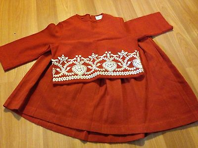 Vintage Tricia Ltd Girls 2 Pc Outfit Shirt With Shirt Burn Orange Size 8 Yrs