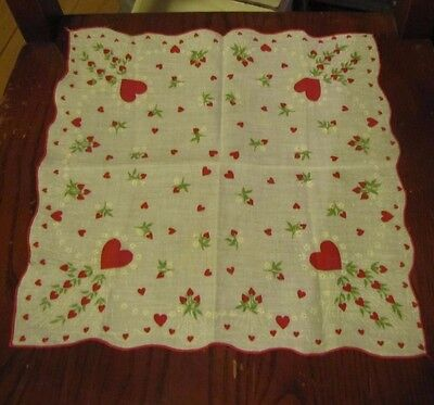 Vintage Valentine Handkerchief Hankie~ Large & Small Red Hearts, & Flowers