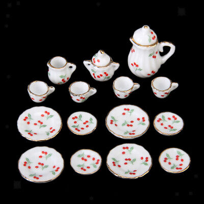 15pcs Doll House Miniature Dining Ware Porcelain Tea Set Red Cherries 1/12