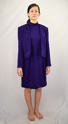 Vintage 80's Purple Knit Wiggle Dress With Matching Jacket by ANN KIRK Size 6
