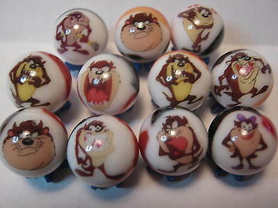 Tasmanian Devil TAZ looney tunes MARBLES 5/8 SIZE collection lot + STANDS