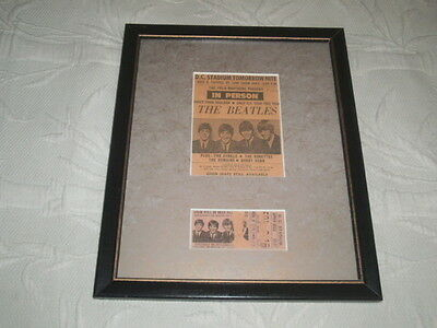 BEATLES 1966 Original D.C Stadium CONCERT Ticket STUB & Newspaper Ad