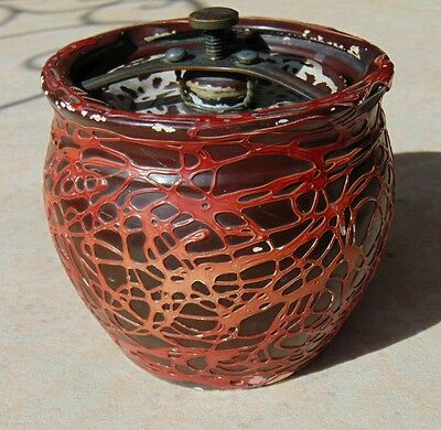 Antique Slip Decorated Tobacco Jar with Sprung Clamp Lid