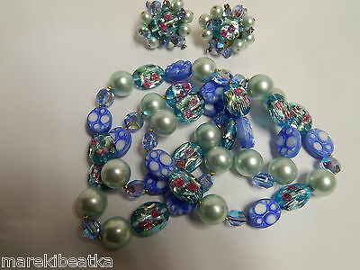 Vtg  Molded Plastic , Foil Ab Beads, Faux Pearl Necklace & Earrings