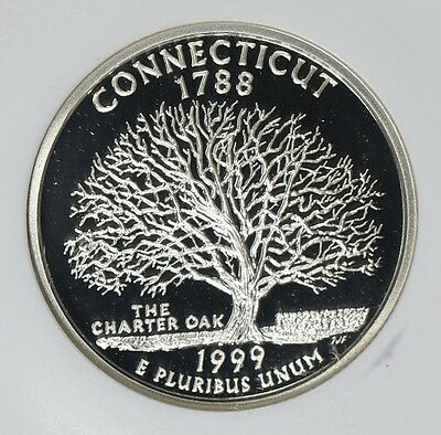 1999-S 25C Connecticut Silver Proof, NGC PF70 UCAM, First-Year State Quarter