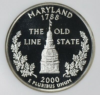 2000-S 25C Maryland Silver Proof, NGC PF70 UCAM, Second-Year State Quarter