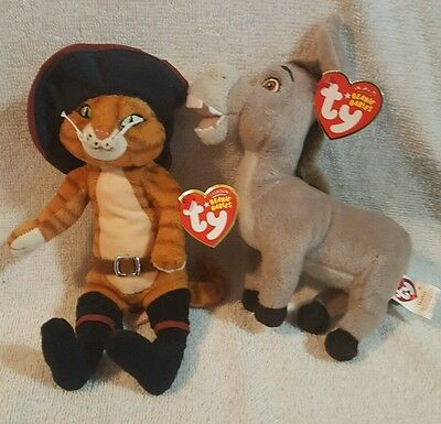 Ty Beanie Babies Donkey & Puss in Boots set from Shrek mint with tags Retired