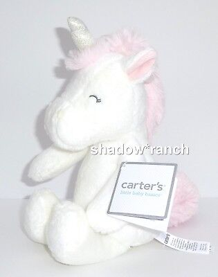 NWT Carters Unicorn Plush Soft White Pink Baby Girl Stuffed Lovey Toy 66920