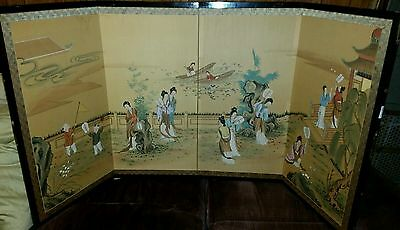 Beautiful Antique Hand Painted On Silk 4 Panel Folding Chinese Screen