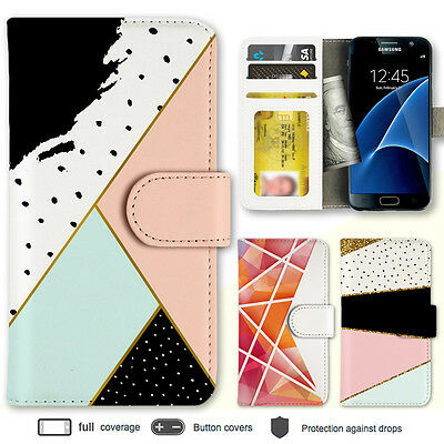 Galaxy S8 S7 Edge Case Geometric Pattern Print Wallet Leather Cover for Samsung