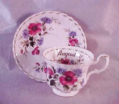 """Royal Albert Cup & Saucer August """"Poppy"""" Flower of the Month Series"""