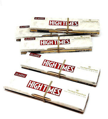 Raw High Times Rolling Papers King size Slim and Tips- 5 Packs Classic - Limited