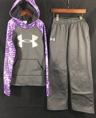 Under Armour X Storm Youth Girls Outfit Hoodie & Sweatpants Small Purple Gray