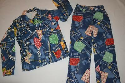 vtg 70s HEE HAW patchwork calico denim  hippy scarecrow PANTS & TOP JACKET Set