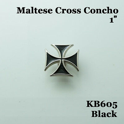 【KB605】1'' Maltese Cross Concho Saddle Concho Leathercraft Black