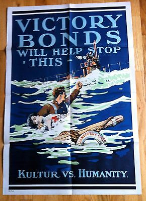 Original Victory Bonds Will Stop This. Kultur vs Humanity  WWI Poster