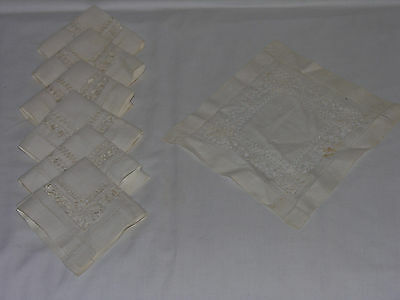 """Vintage Set of 7 Luxury Embroidered Off-White Linen Table Mat Napkins 9"""" X 9"""""""